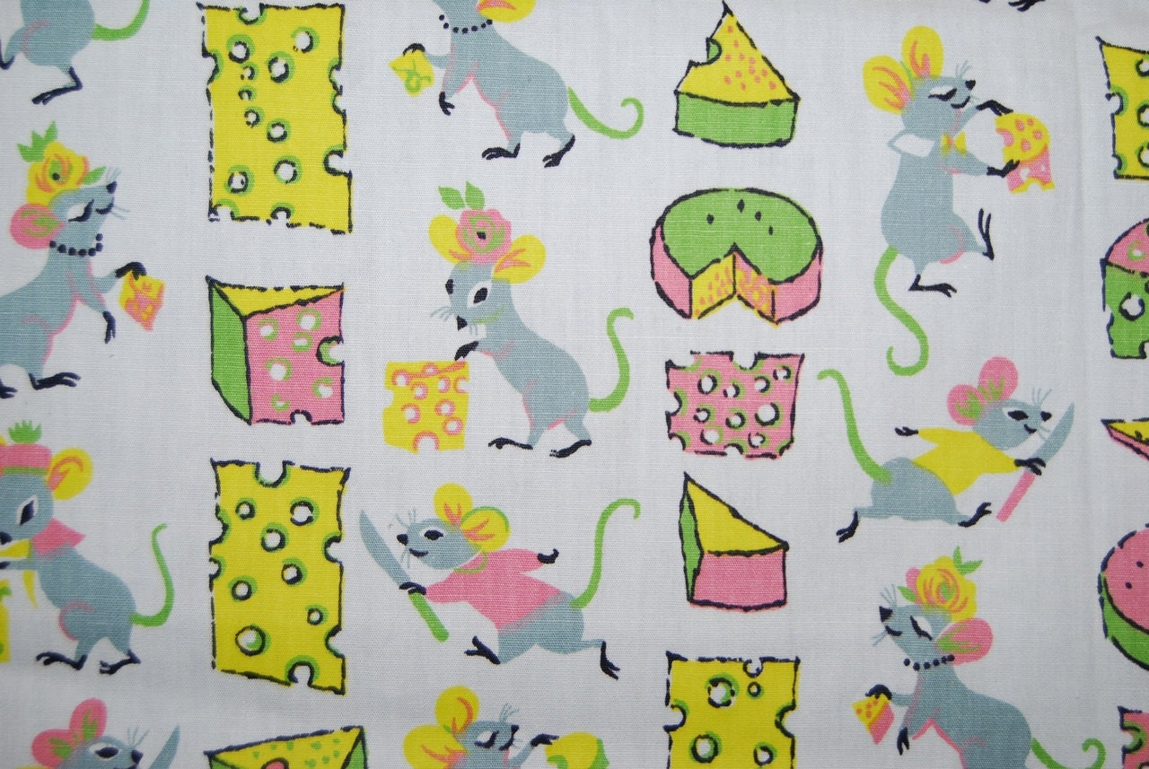Vintage baby mice fabric vintage 60s mice and cheese childrens for Retro baby fabric