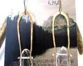 Hammered Gold and Quartz Crystal earrings
