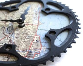 Chicago Bicycle Clock  |  Map Clock  |  Chicago City Map Clock  |  Bike Gear Clock