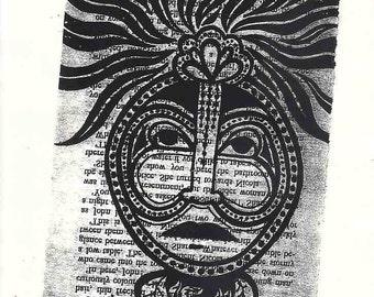 Male face wall art, male face Screen print, man wall art, Green Man screen print, male art, man art, black grey wall art, man print text art