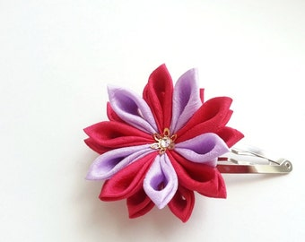 Lavender and Red Mum-- Kimono Fabric Flower Hair Pin