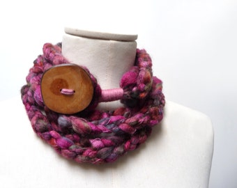 Loop Infinity Scarf Necklace, Crochet Scarflette Neckwarmer - Violet Red, Burgundy, Bordeaux, Deep Purple multicolor with giant wood button