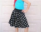 Retro 50's Sock Hop Black and White Polka Dot Circle Skirt for Girls and Babies