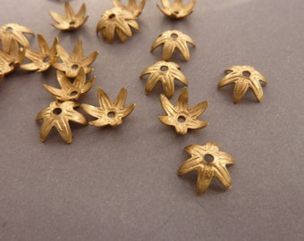 12 Bead Caps - Brass 10 mm