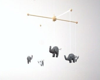 Dark Gray Elephant Safari Wildlife Animal Baby Nursery Mobile Deccor