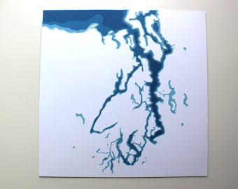Puget Sound - original 12 x 12 papercut art