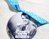 Funny Man Christmas Ornament Comfort and Joy? , how about a beer and a nap?. 3 inch mylar magnet back