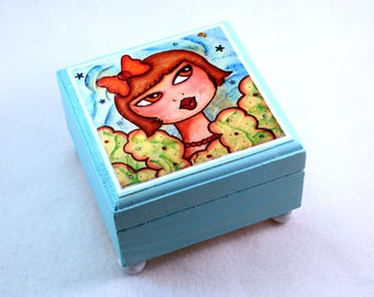 Girl Art Jewelry Box, Small Painted Wood Wooden Trinket Box, Square Ring Box Earring Holder Original Art Print Blue
