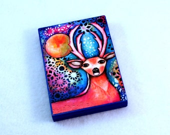 Deer Art Wood Block, Whimsical Art, Stag Art, Drilled Hole or Magnet, Woodland Art, ACEO ATC, Wooden, Blue Pink Orange