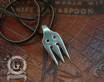 Baby Forktopus Pendant - Handcrafted from Recycled Antique Oyster Forks - A Doctor Gus Cutlery Creation - Cute Bohemian Style- FREE SHIPPING