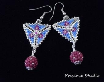 Silver, Beaded, Blue, Fuchsia, Peyote Triangle, Beaded Beads, Drop, Dangle, Triangle Earrings