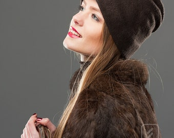 Sale Felt Brown Hat Sport style Soft Wool Warm Headpiece