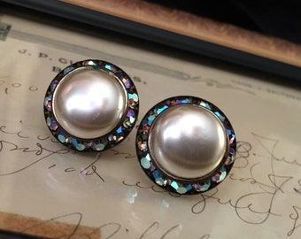Vintage Faux Pearl and Gem Clip On Earrings