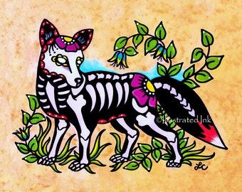 Day of the Dead FOX Dia de los Muertos Art Print 5 x 7, 8 x 10 or 11 x 14