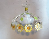 Hanging Tole  Light - Metal Flowers Toleware - Sunny Dining Room - Metal Daisies Milk Glass Globe