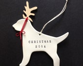 dog in antlers personalized christmas ornament with personalized words or name;  ceramic and wood; puppy holiday decoration by Paloma's Nest