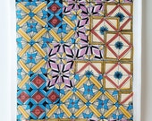 Patchwork Tea Towel. Hand drawn multi colour towel