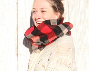 Buffalo Plaid Cowl Neckwarmer Red Black Ivory Check Plaid Red Fleece Lined Warm Cozy Autumn Winter Fashion Unisex // by Nicoles Threads