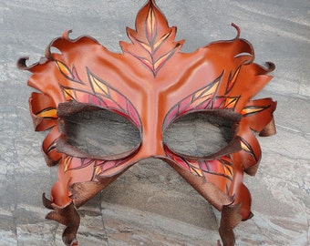 Autumn Leaf Mask - Sculpted Leather Lady Of The Leaves In Fall Colors - Masquerade Halloween Larp Costume