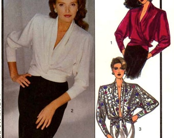80s wrap top with chic evening wear blouse vintage sewing pattern Style 1016 Sz 10 to 16 UNCUT