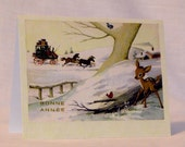 "French ephemera ""Bonne Année"" holiday cards with adorable deer and birds - set of 8"