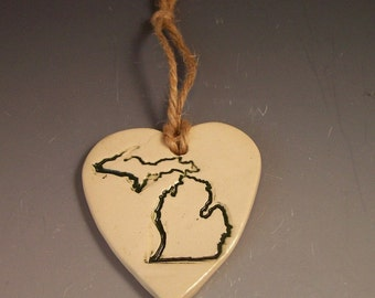 Love Michigan Pottery Ornaments/ Heart Michigan Handmade Ornaments