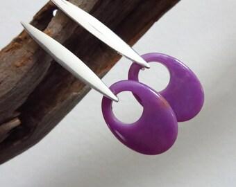 Sale-Orchid Phosphosiderite Hoop-Sterling Silver Contemporary Post Earrings