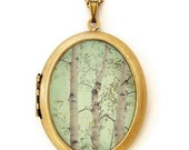 Photo Locket Necklace - Forest For The Trees - Enchanted Woodland Photo Art Locket Necklace