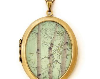 Photo Locket Necklace - Forest For The Trees - Enchanted Woodland Photo Art Locket Necklace