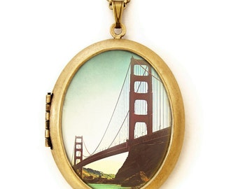 Photo Locket - The Golden Gate - San Francisco Bridge Photo Locket Necklace