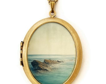 Photo Locket - Be Here Now - Seascape Serene Ocean and Rocks Wearable Photo Locket Necklace