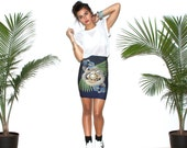 Snake Skirt, Printed Skirt, High Waisted Skirt,  Pencil Skirt, Mini Skirt, Tropical Print, Palm Print Skirt, Navy Skirt, iheartnorwegianwood