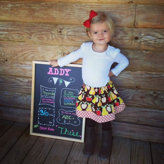 Girls Apples and Pears Twirly Skirt - CUSTOM sizes 12 months to size 8