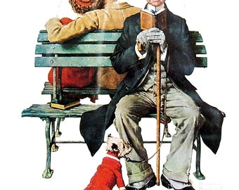 Park Bench, Mistletoe - Large Norman Rockwell Print - 1979 Vintage Book Page - Saturday Evening Post Cover - 14 x 12