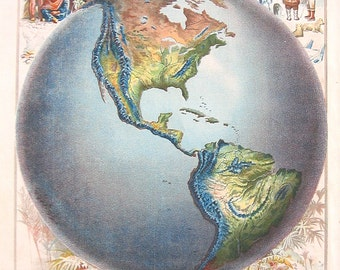 1885 Antique Map - World Map - World Hemispshere - World Globe - Geography Atlas Map - Antique Book Page - 12 x 9