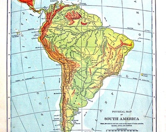 1898 Antique Map - Physical Map of South America - Continent Map - Antique History Book Page - 12 x 10