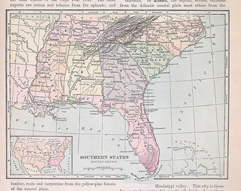 1895 Antique Map Us State Map Southern States Vintage Book Page 12