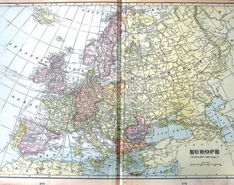 Map of Europe - Continent Map - Large 1901 Antique Map - from Cram's World Atlas - 22 x 14