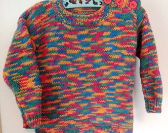 Hand Knit Multicolored Sweater for Children  Boy or Girl  Size 1