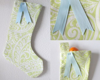 Christmas Stocking - Pale Green, White and Pastel Blue