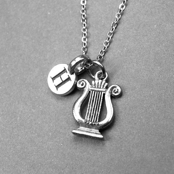 Harmonica Necklace: Harp Necklace Lyre Charm Musical Instrument Personalized