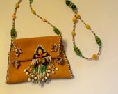 Medicine Bag Beaded Leather Necklace with Purple Beaded Fringed Flower & Matching Copper Colored Leaf Accents