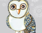 SNOWY Owl Illustration With Inspirational Creativity Quote Digital Print