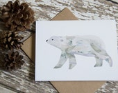 Polar Bear Greeting Card of Original Collage