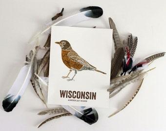 Wisconsin State Bird, Nature art, Outdoor art, Vintage Map art, Art print, Wall decor, Rustic Nursery, Map prints - AMERICAN ROBIN