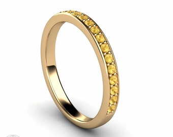 Citrine Anniversary Band Citrine Ring Stacking Ring Wedding Band 14K Gold or Palladium November Birthstone