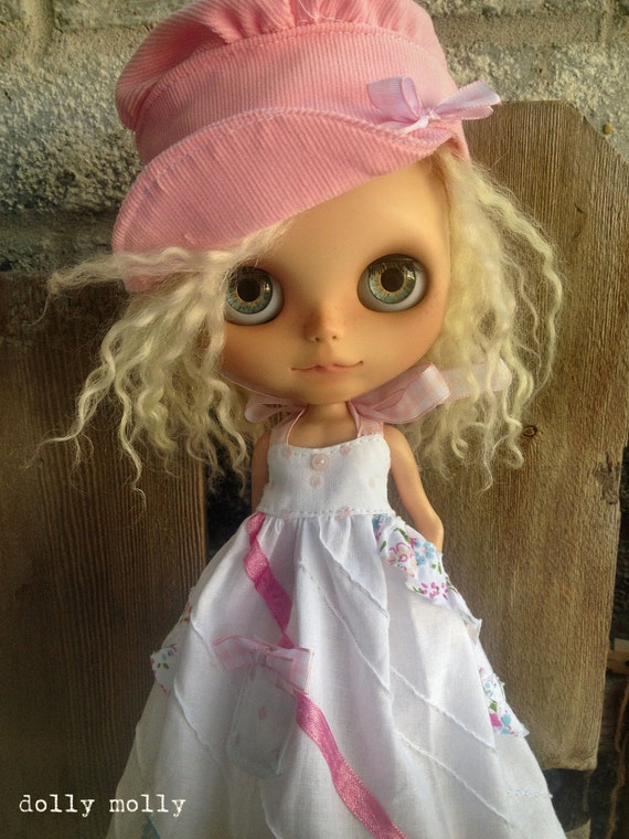 dolly molly Tattered pink corduroy HAT   for BLYTHE doll