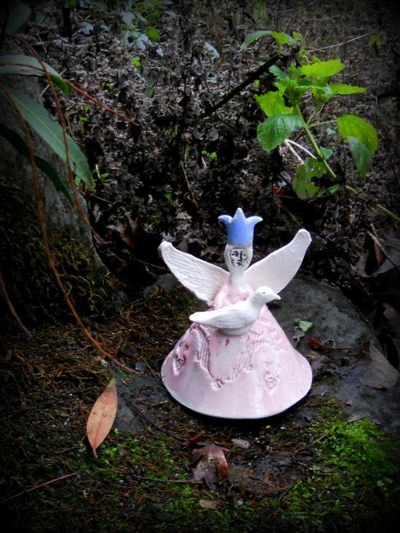 Ceramic Fairy Queen Angel holding white dove