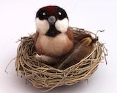 Sparrow Needle Felted Bird