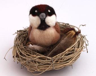 Needle Felted Sparrow Bird Decoration